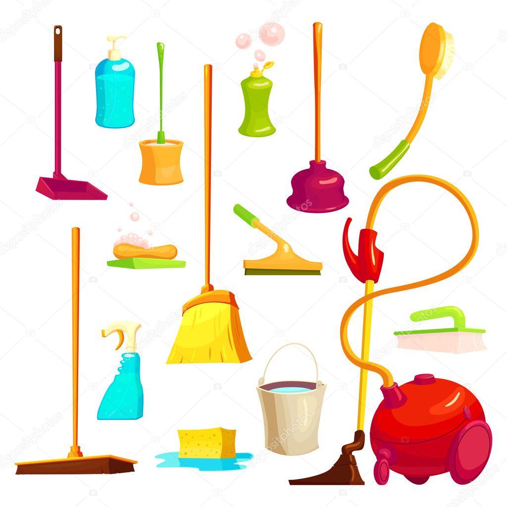 Juego de elementos de limpieza vector de stock mogil - Imagenes de limpieza de casas ...