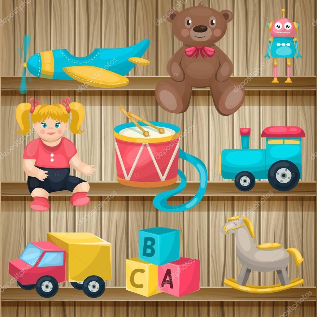 Zabawki Dla Dzieci Na Półki Conposition Grafika Wektorowa