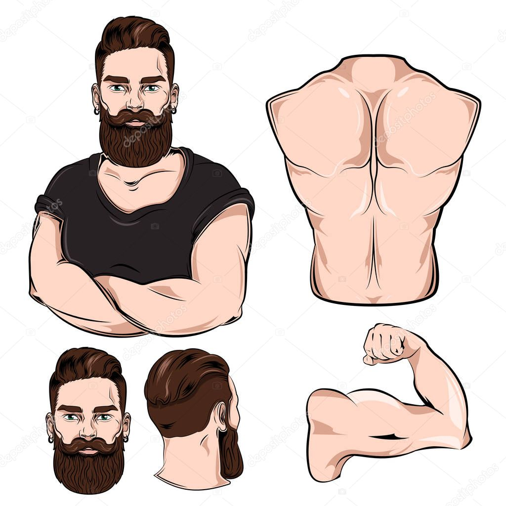 Male Body Parts For Tattoo Set — Stock Vector © Mogil #129866840