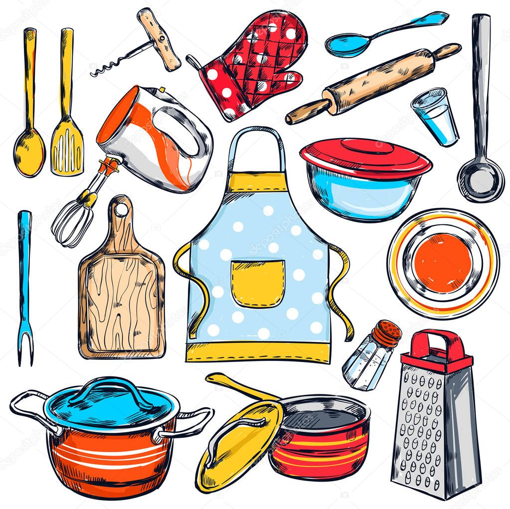Home cooking elements set vector de stock mogil 129866990 for Elementos de cocina para chef