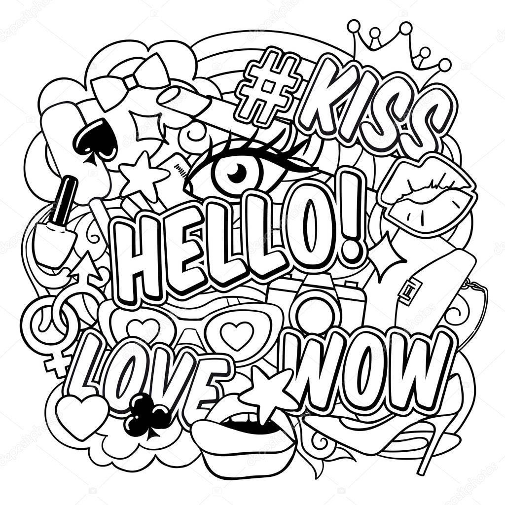 Coloriage Livre Pop Art Image Vectorielle Mogil 129987344