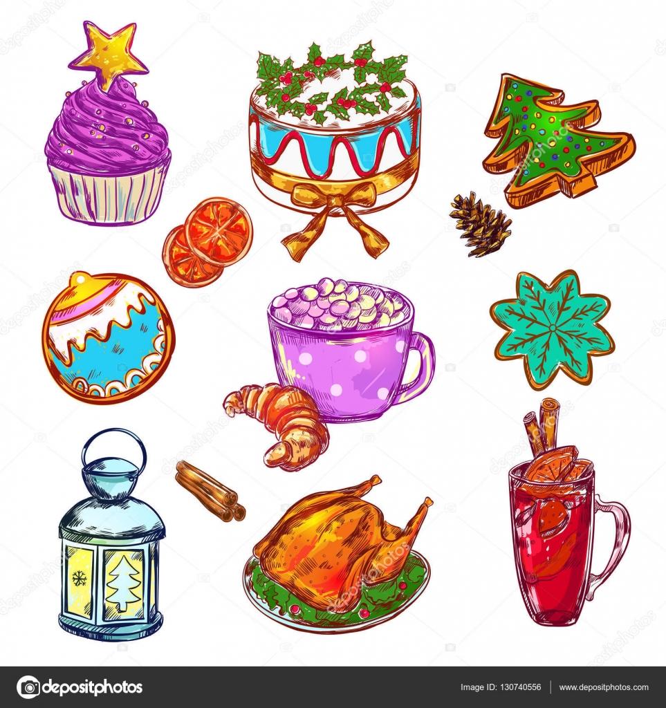Jeu de Noël nourriture Sketch — Image vectorielle Mogil © #130740556