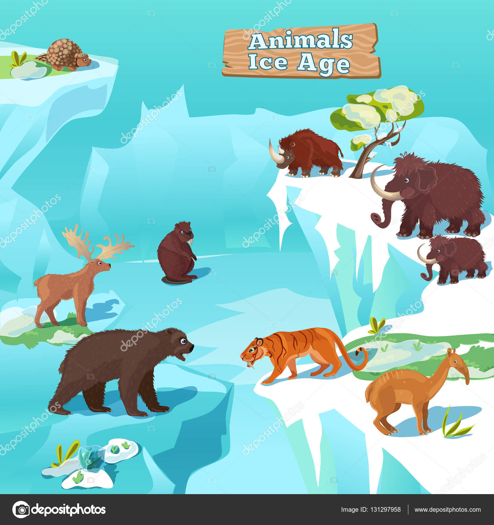 Hayvanlar Buz Yaş Kompozisyonu Stok Vektör Mogil 131297958