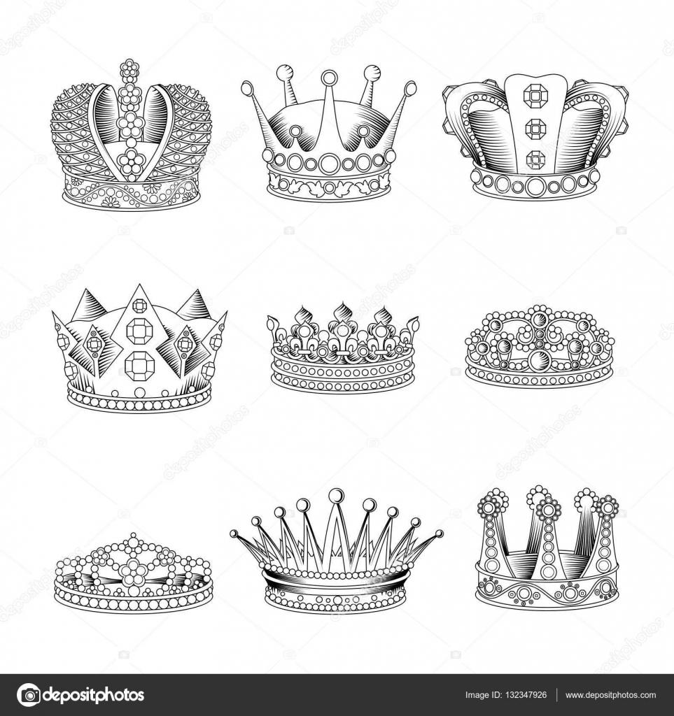 Dibujos Coronas Para Hombres Conjunto De Iconos De Dibujo De