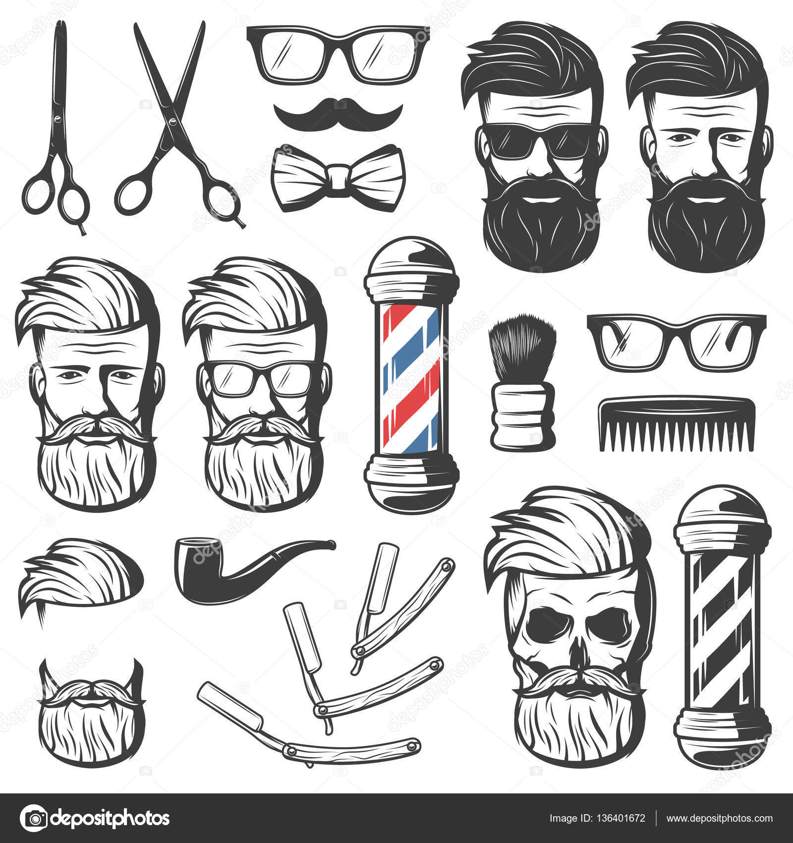 Well known Vintage Barber Elements Set — Stock Vector © Mogil #136401672 KO36