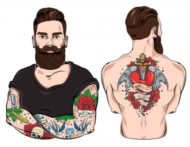 Tattooed Man Character Set
