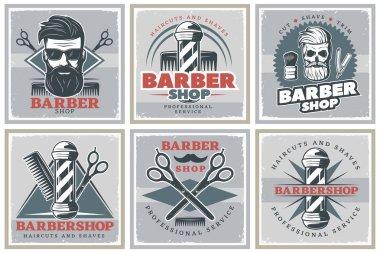 Barbershop Hipster Posters Set
