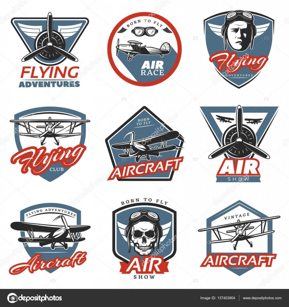 Vintage Colorful Aircraft Logos Stock Vector Mogil