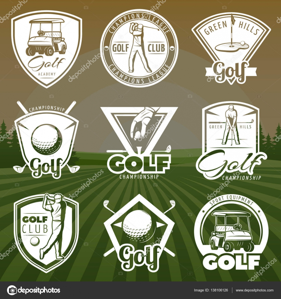 Vintage Golf Club Logos With Cart Player And Ball On Green Lawn Background Isolated Vector Illustration By Mogil