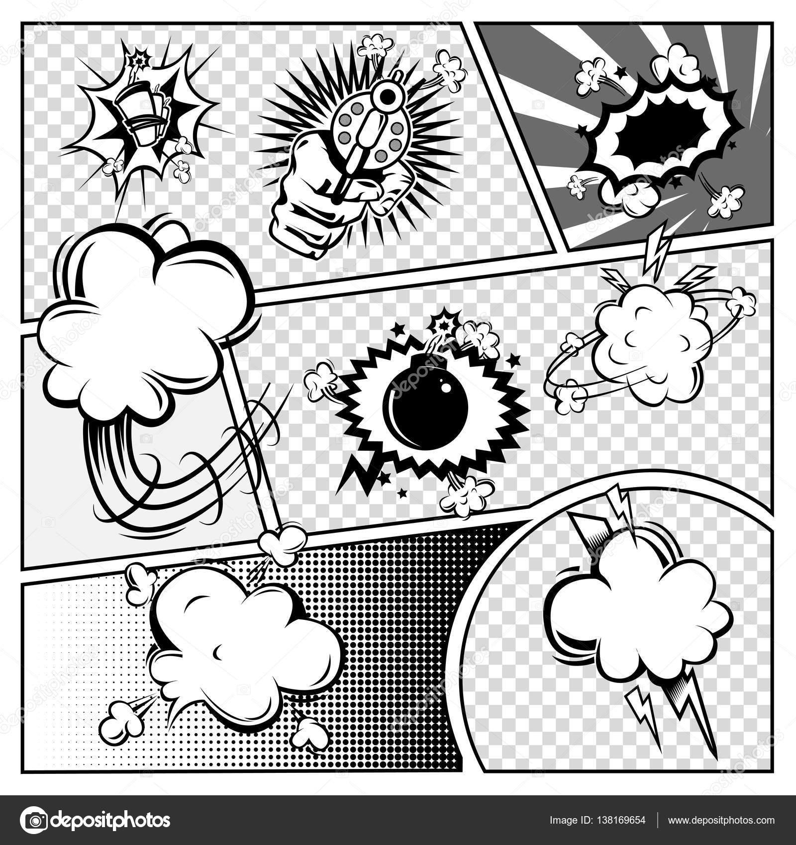 Comic-Buch-Seite Monochrom-Vorlage — Stockvektor © Mogil #138169654