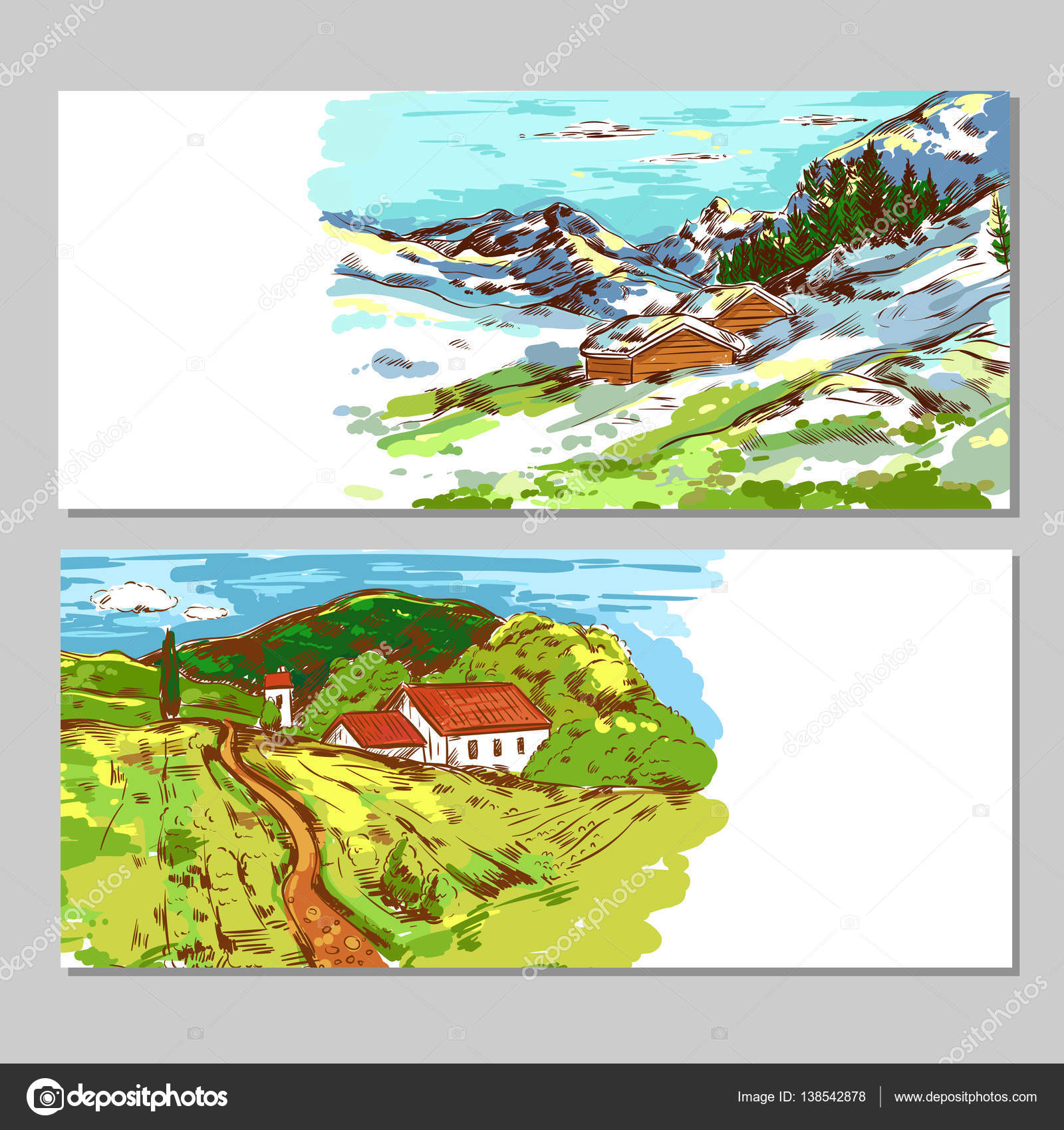 Sketch Colorful Countryside Landscapes Stock Vector C Mogil