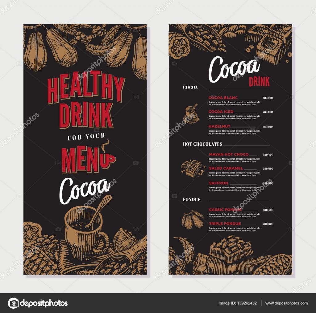 Plantilla de menú de restaurante grabado cacao — Vector de stock ...
