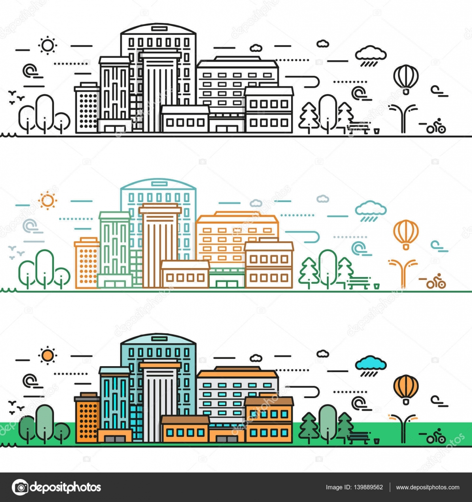 Dibujos Paisaje Urbano Dibujo A Color Facil Concepto De Ciudad