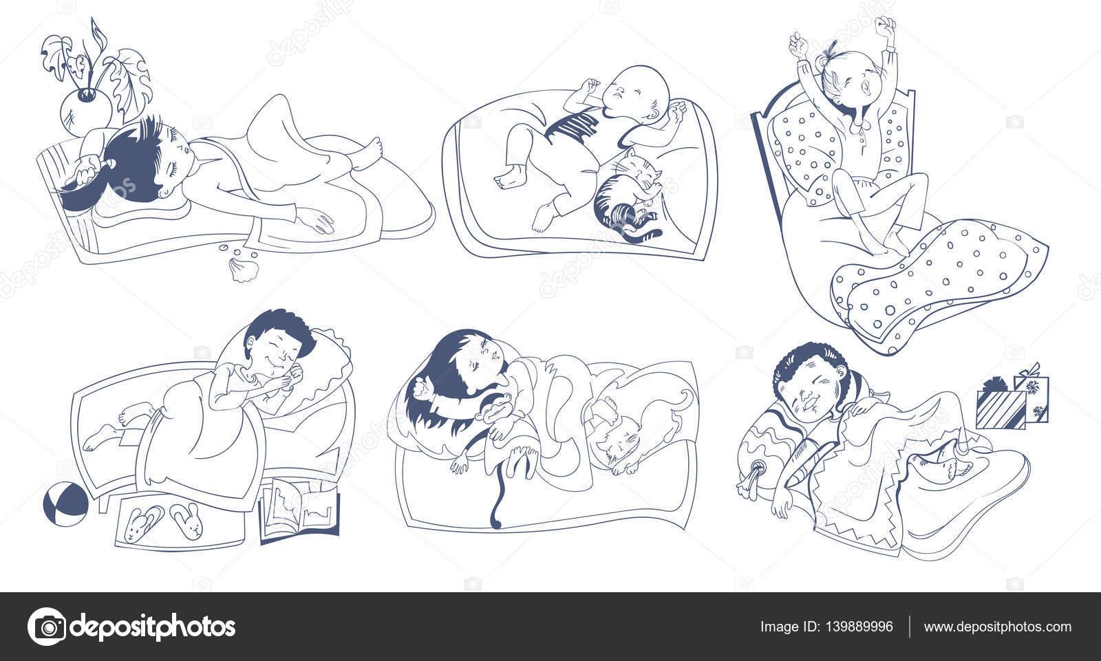 Boceto para dormir niños Set — Vector de stock © Mogil #139889996