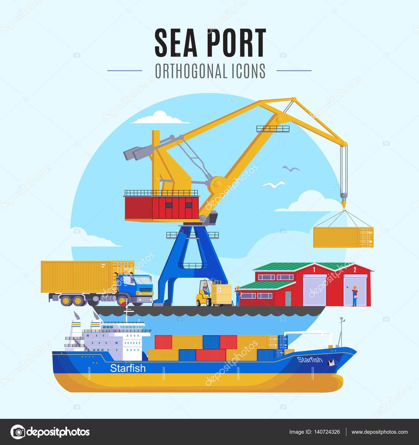 Sea Port Template — Stock Vector © Mogil #140724326