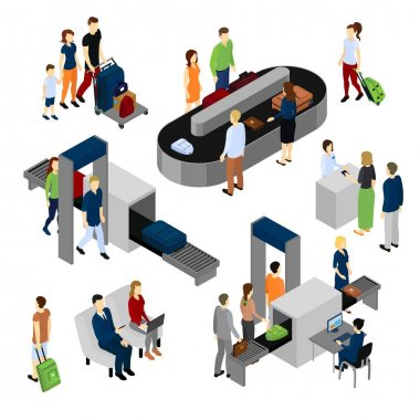 People In Airport Isometric Set