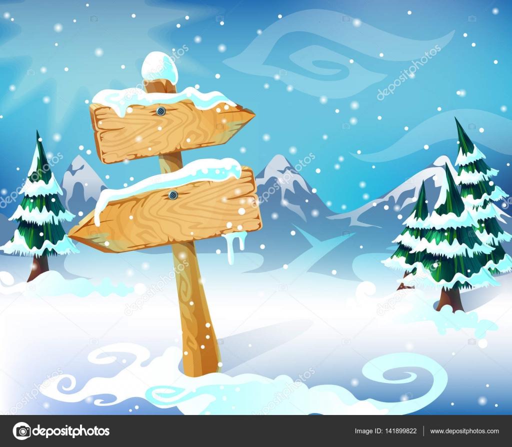 Plantilla de dibujos animados paisaje de invierno — Archivo Imágenes ...