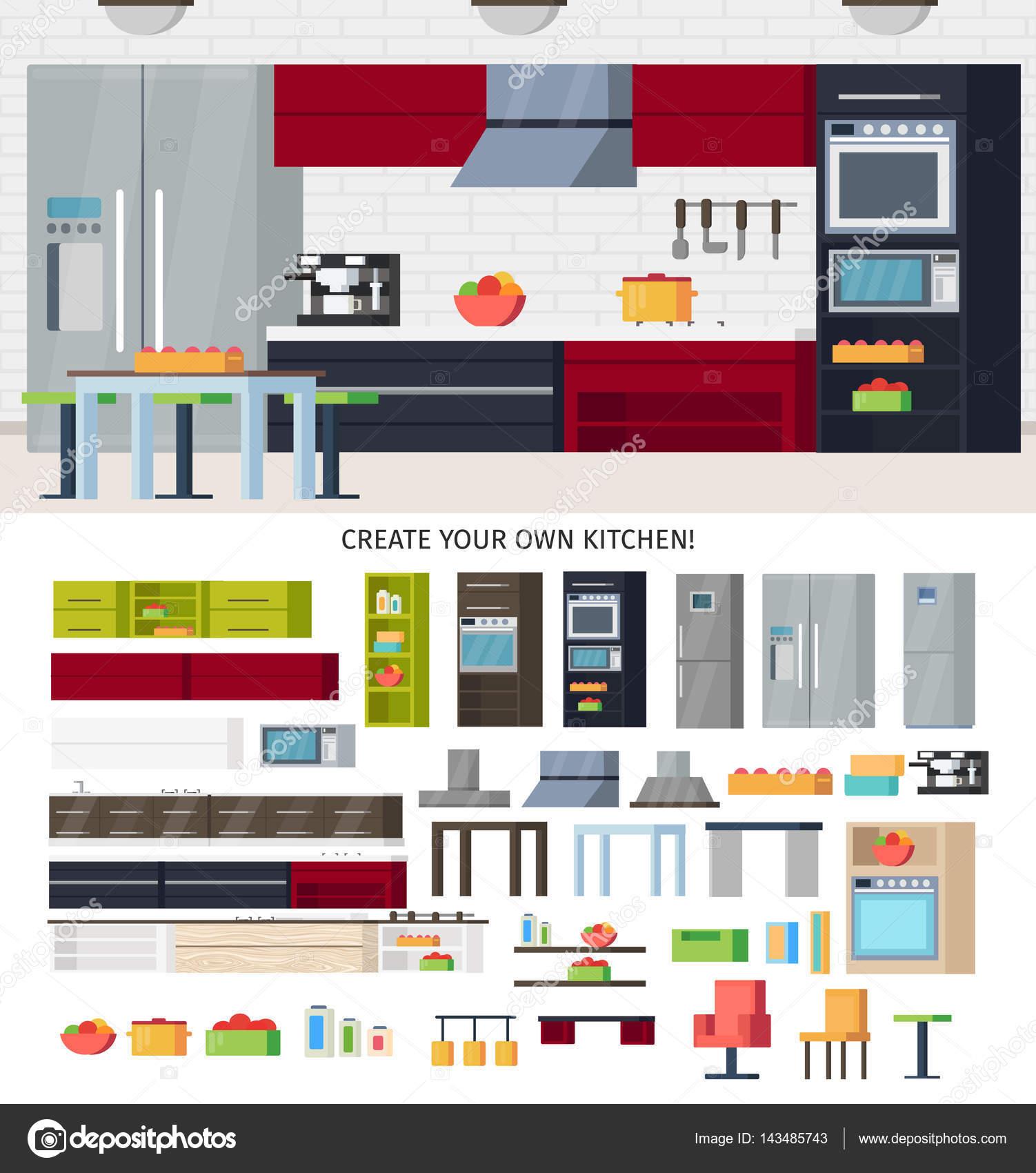 Plantilla de equipos de cocina — Archivo Imágenes Vectoriales ...