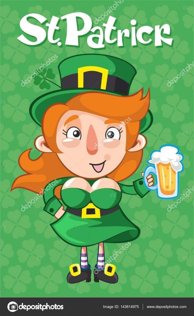 Plantilla de dibujos animados de St Patrick Day — Vector de stock ...
