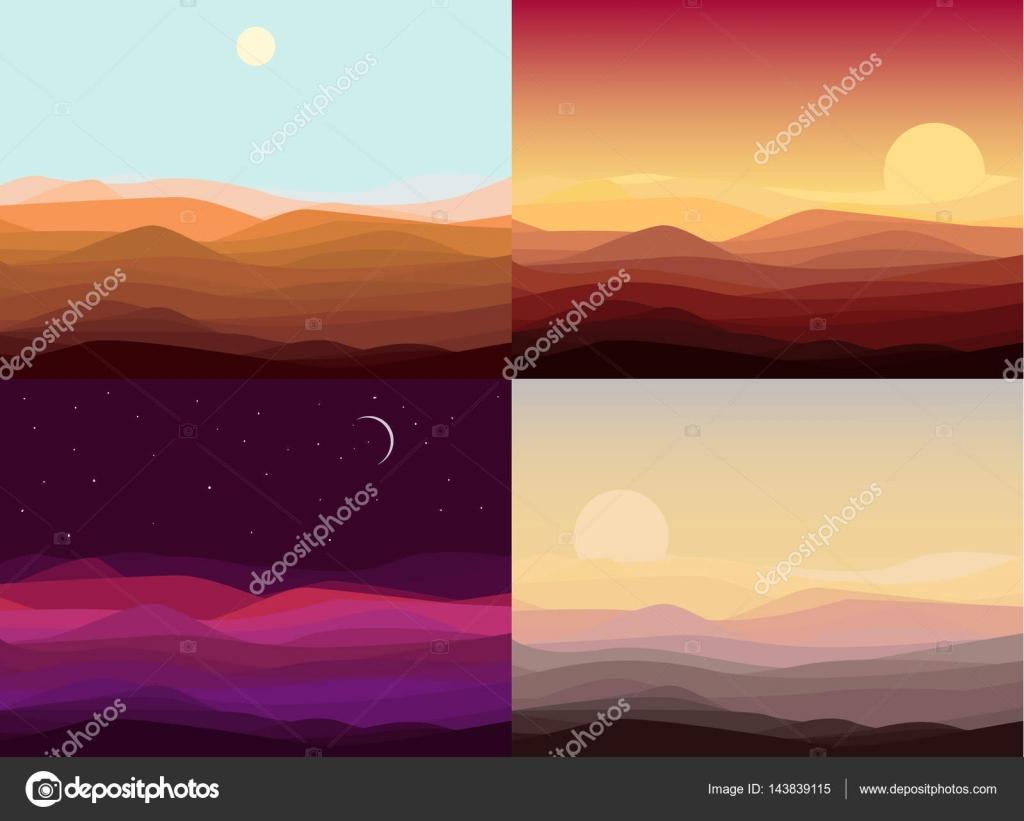 Conjunto de plantillas de paisaje de desierto — Vector de stock ...