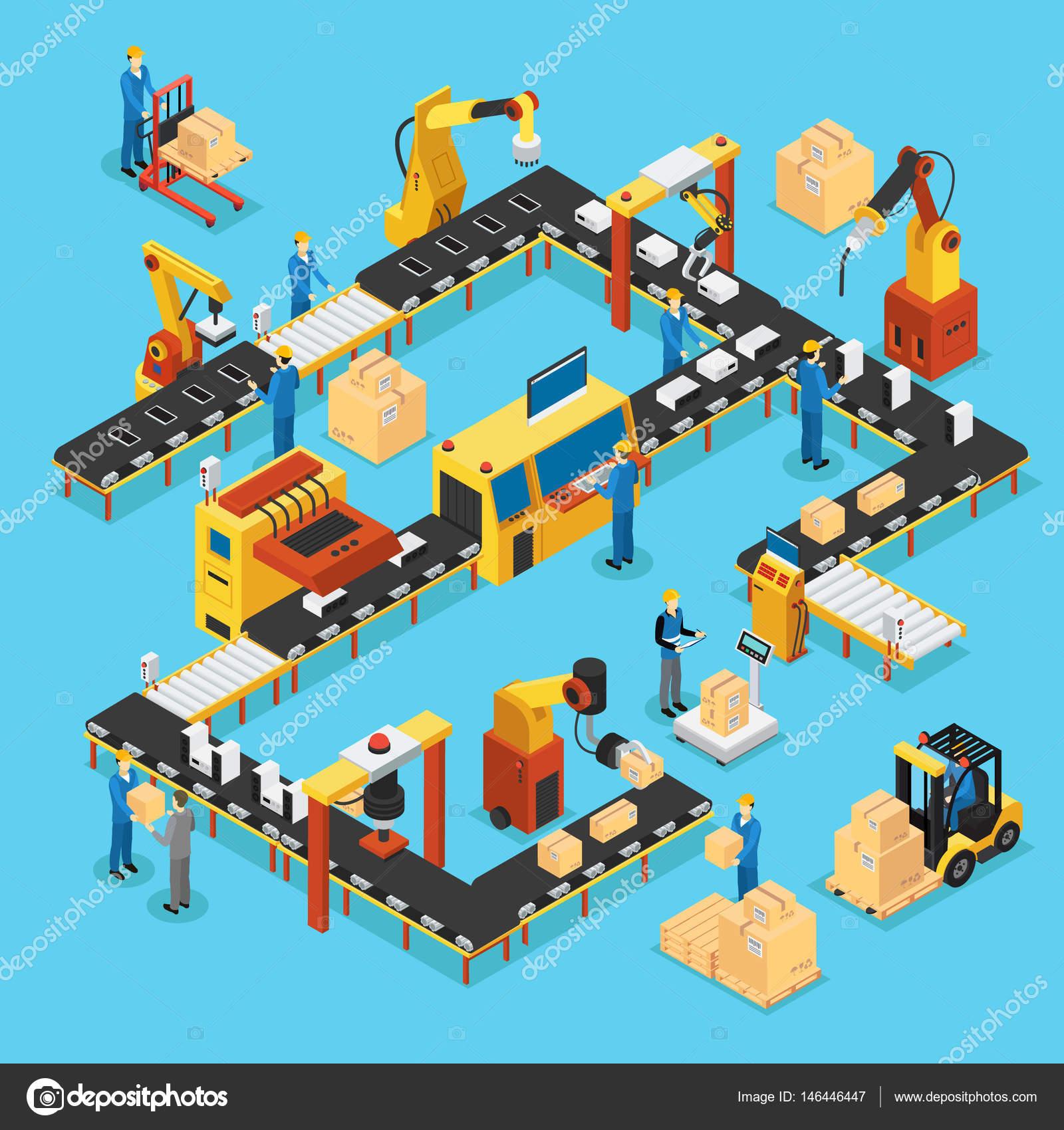 Ligne de production automatisée isométrique concept avec des gens des bras  robotisés et des processus industriels de fabrication automatique vector ... 36f765469cb