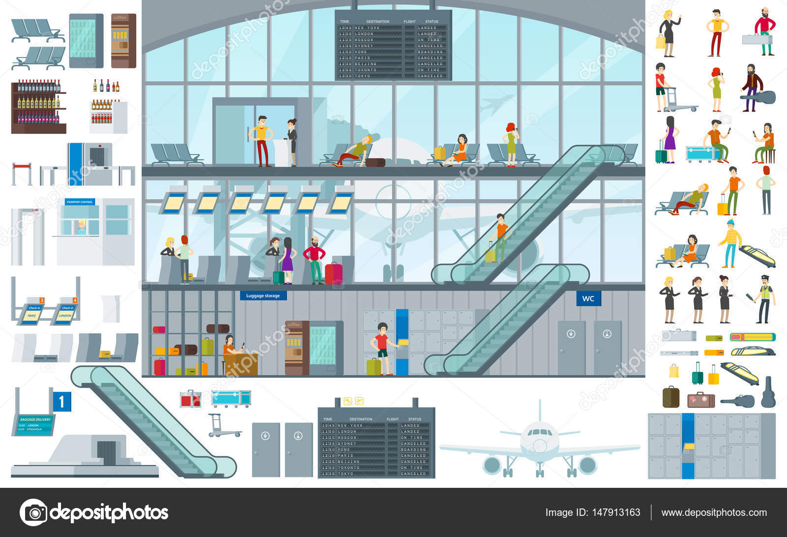 Plano Aeropuerto Infografia Plantilla Vector De Stock C Mogil