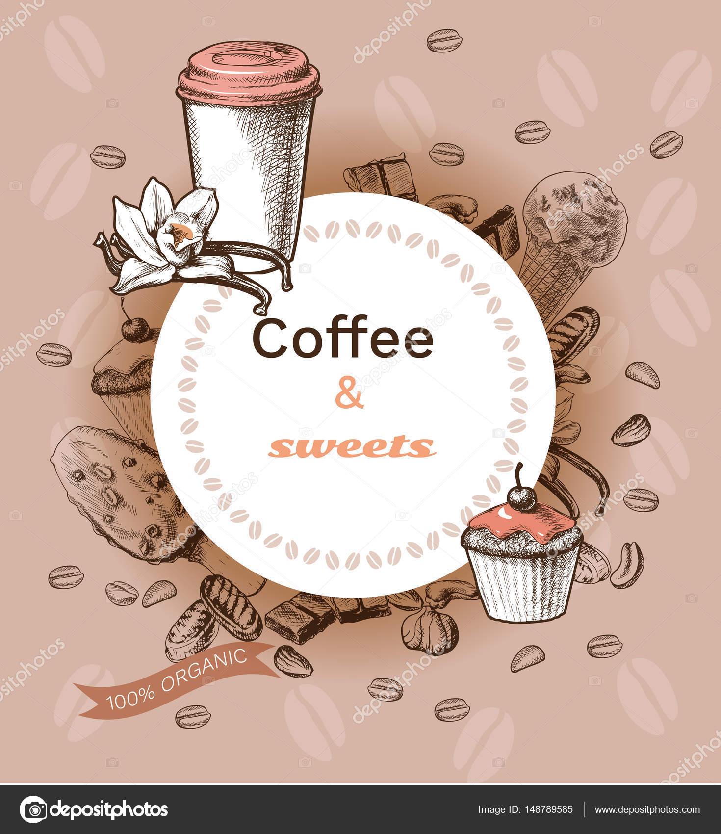 Mano dibuja la plantilla de café caliente — Archivo Imágenes ...