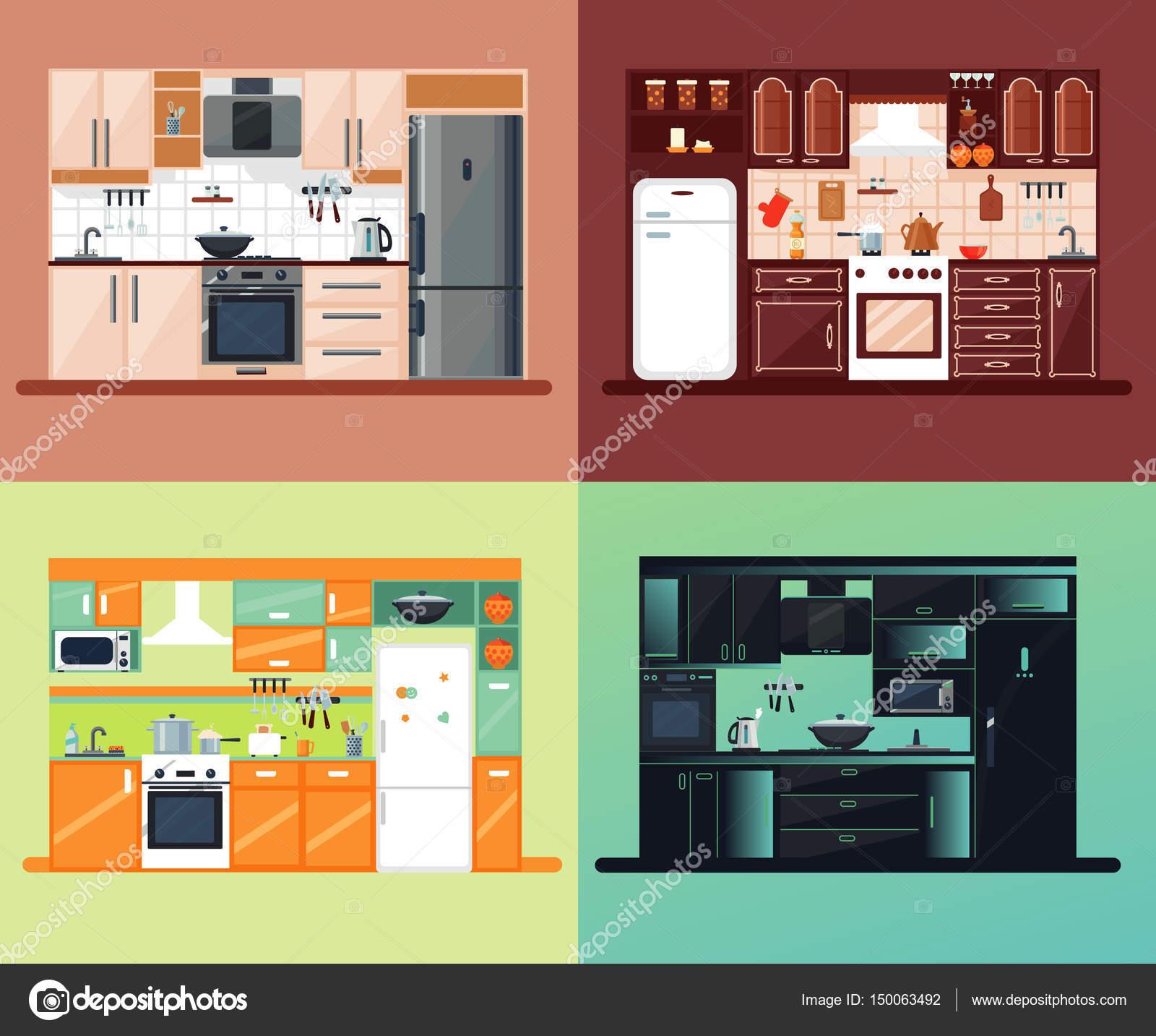 Küche Interieur Square Zusammensetzung — Stockvektor © Mogil #150063492
