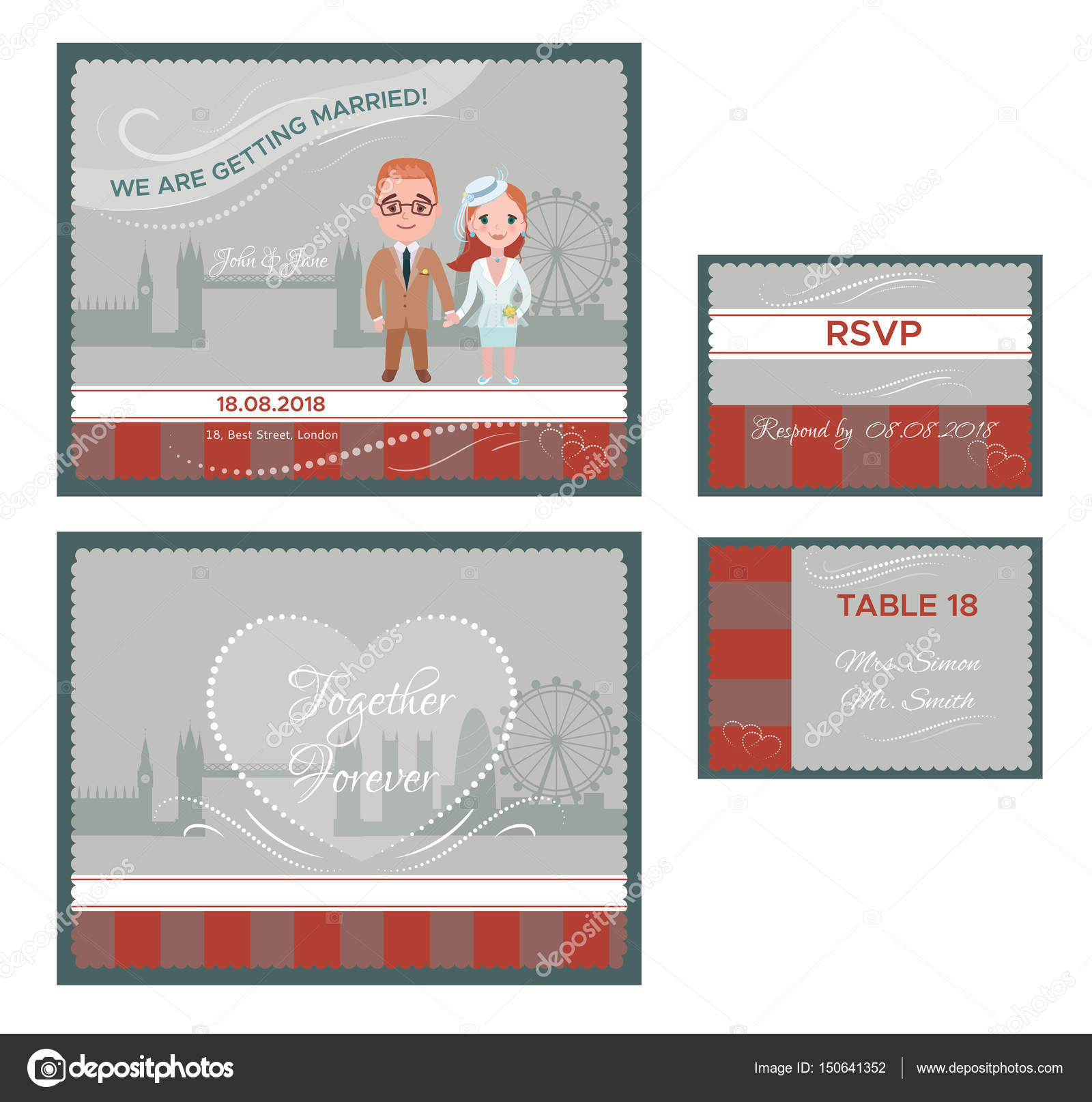 English Wedding Invitations Cards Set Stock Vector Mogil