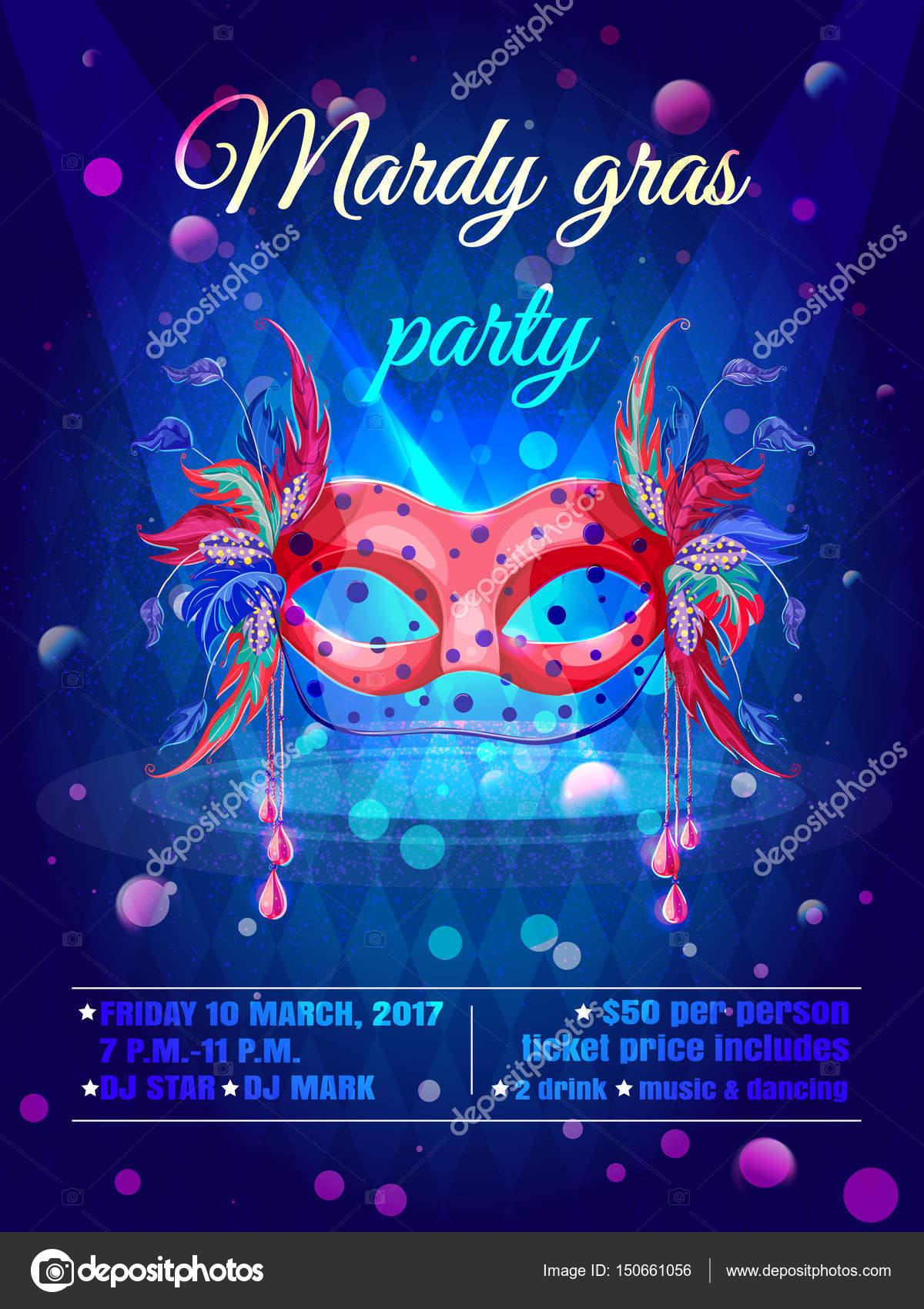 Cartoon Masquerade Party Invitation Poster Stock Vector C Mogil