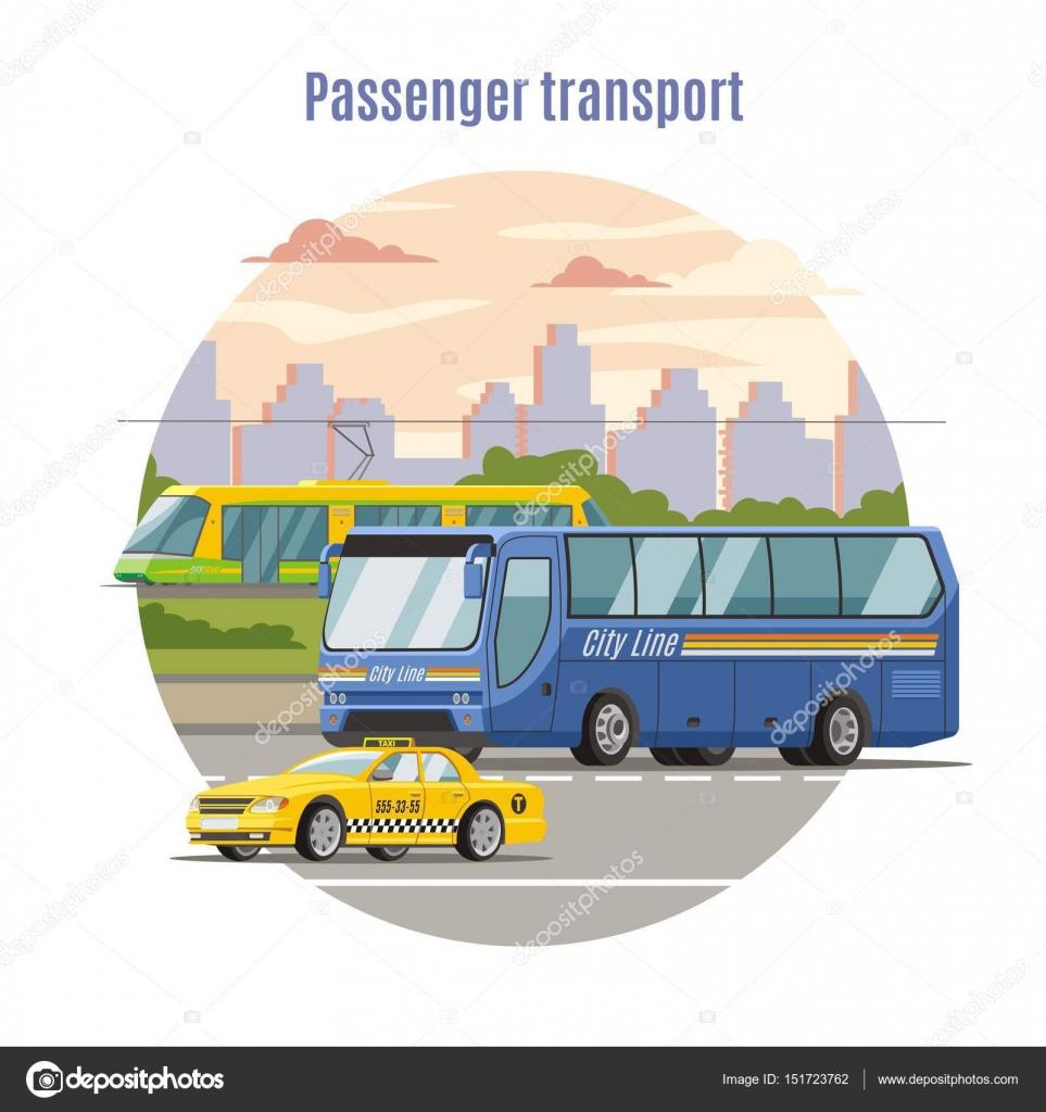 Plantilla de vehículos público urbano de pasajeros — Vector de ...