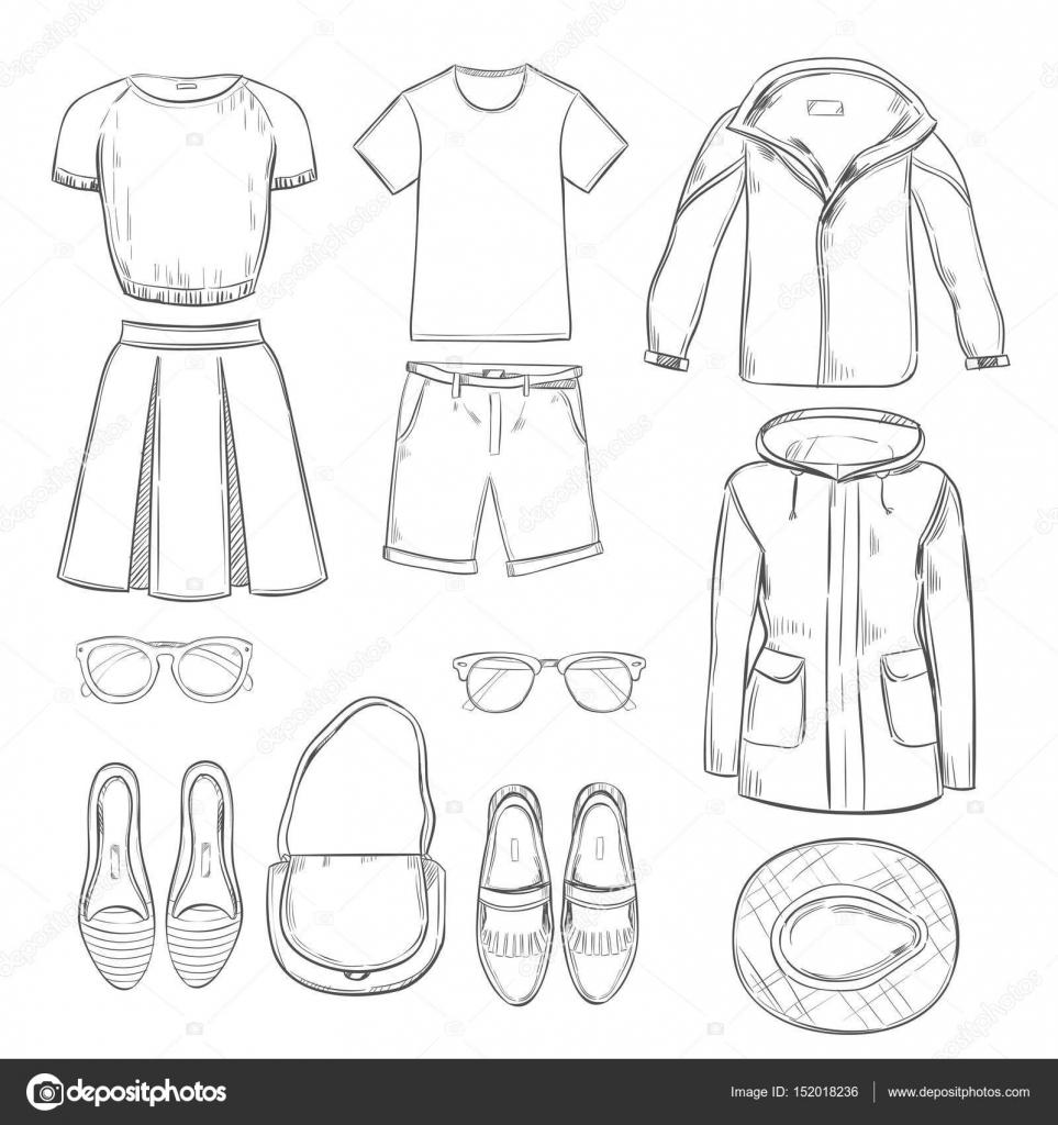 bdab67992 Dibujo ropa para conjunto de paseo — Archivo Imágenes Vectoriales ...