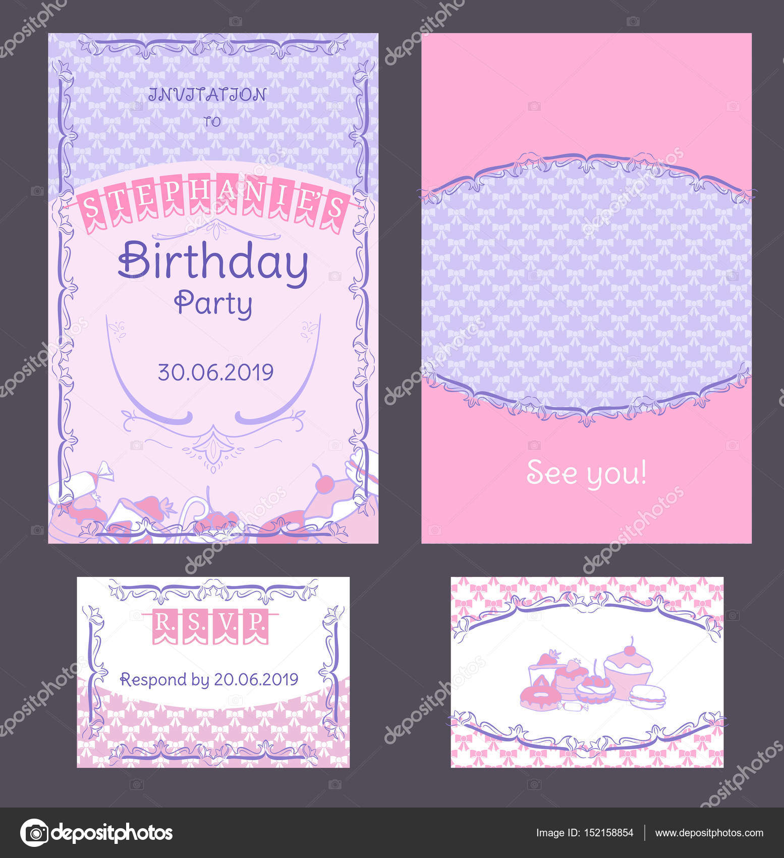 Colorful Vintage Birthday Invitation Cards Set Stock Vector