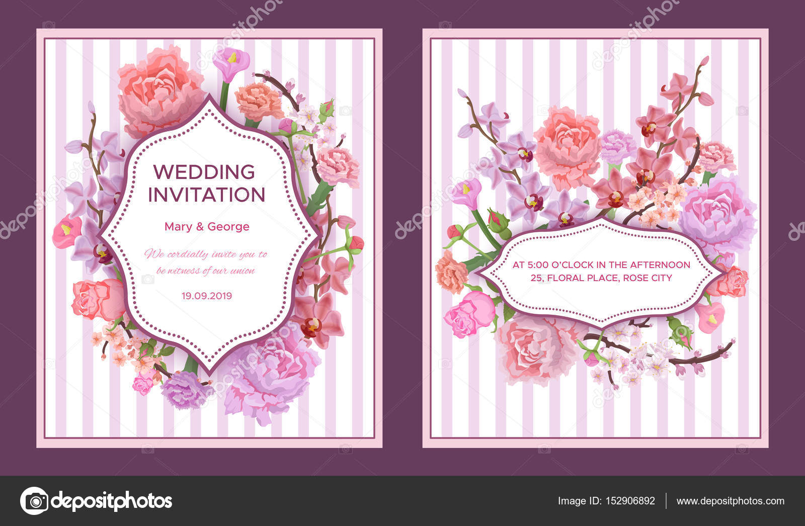 Colorful Wedding Invitation Cards — Stock Vector © Mogil #152906892