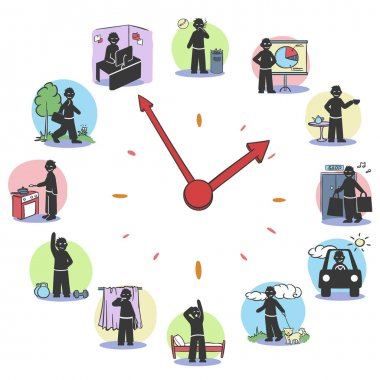 Daily Routine Clock Characters Concept