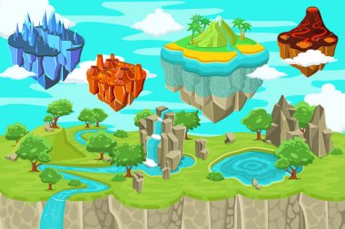 Isometric Game Nature Landscape Template
