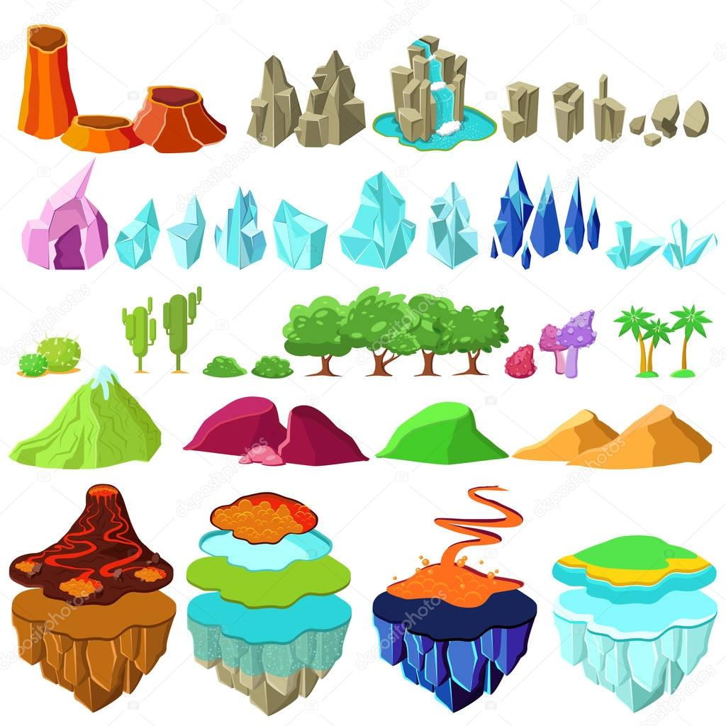 Colorful Game Islands Landscape Elements Set