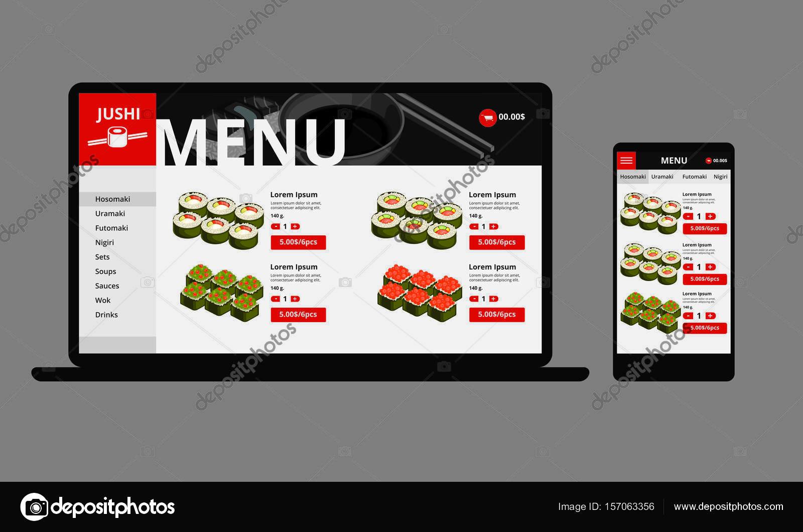 5d7294cd865 Концепция Интернет магазин японских продуктов питания– Векторная картинка