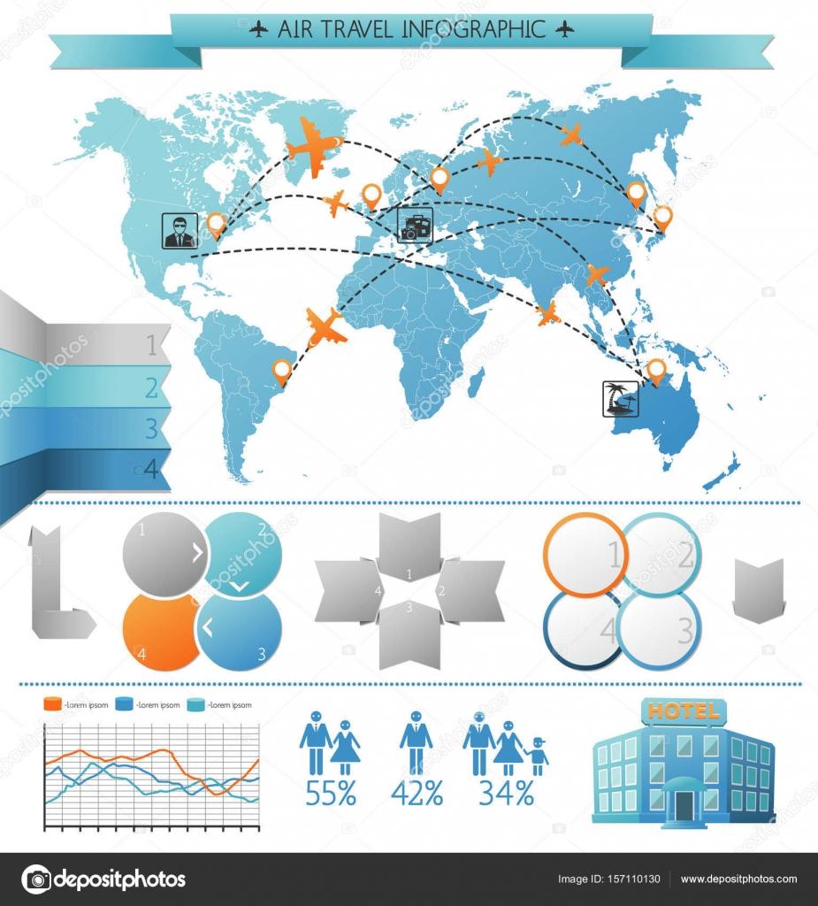 Air summer travel infographic concept stock vector mogil 157110130 air summer travel infographic concept with touristic routes on world map and chart elements vector illustration vector by mogil gumiabroncs Images