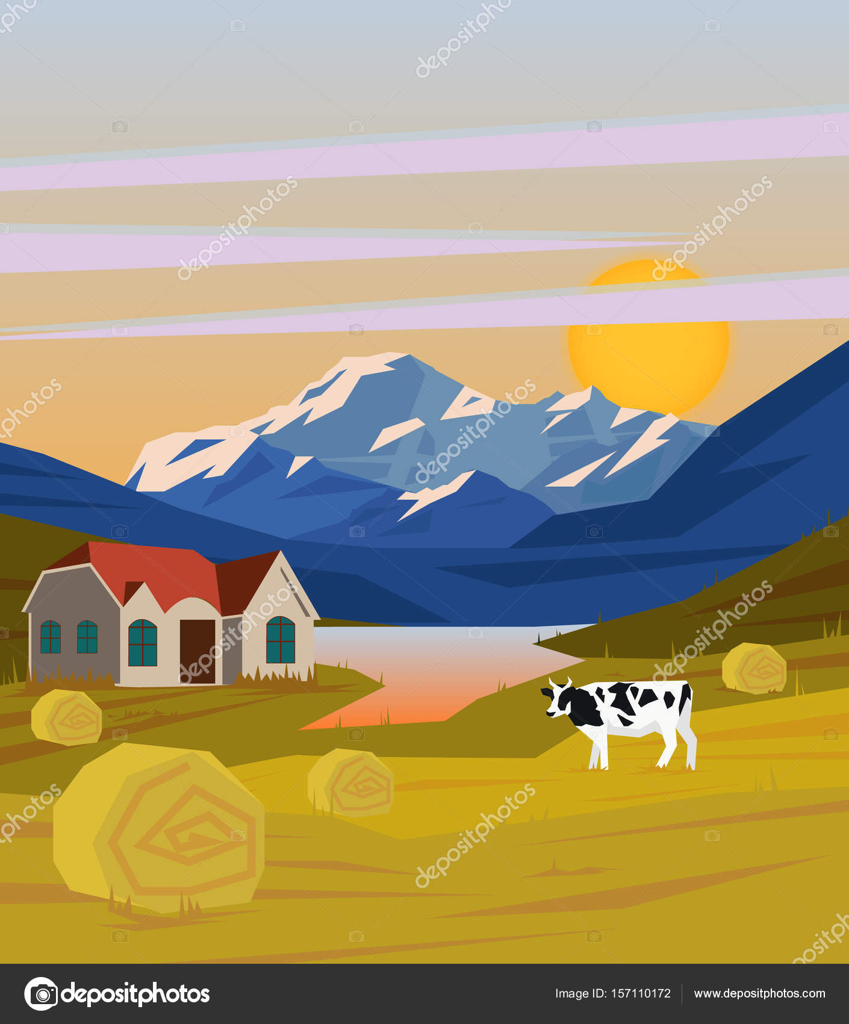 Plantilla de dibujo colorido paisaje Rural — Vector de stock © Mogil ...