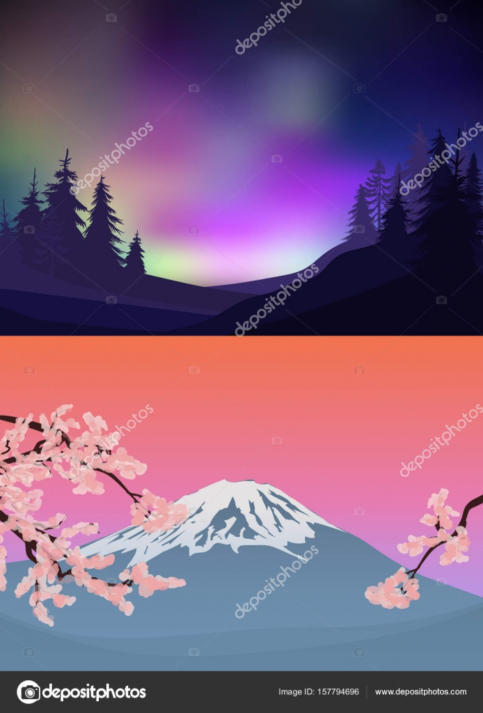 Plantillas de paisaje colorido de la naturaleza — Archivo Imágenes ...