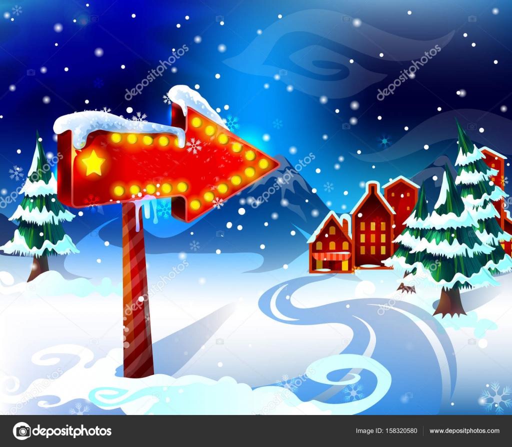 Plantilla de dibujos animados coloridos paisaje de invierno ...