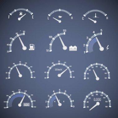 White Speedometer Interface Icon Set