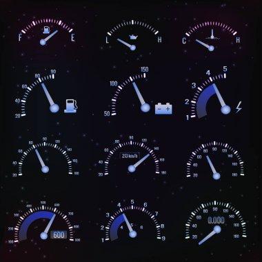 Dark Speedometer Interface Icon Set
