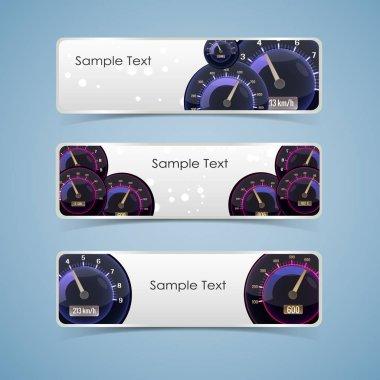 Three Speedometer Interface Banner Set