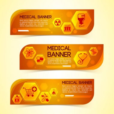 Medical Orange Horizontal Banners Set