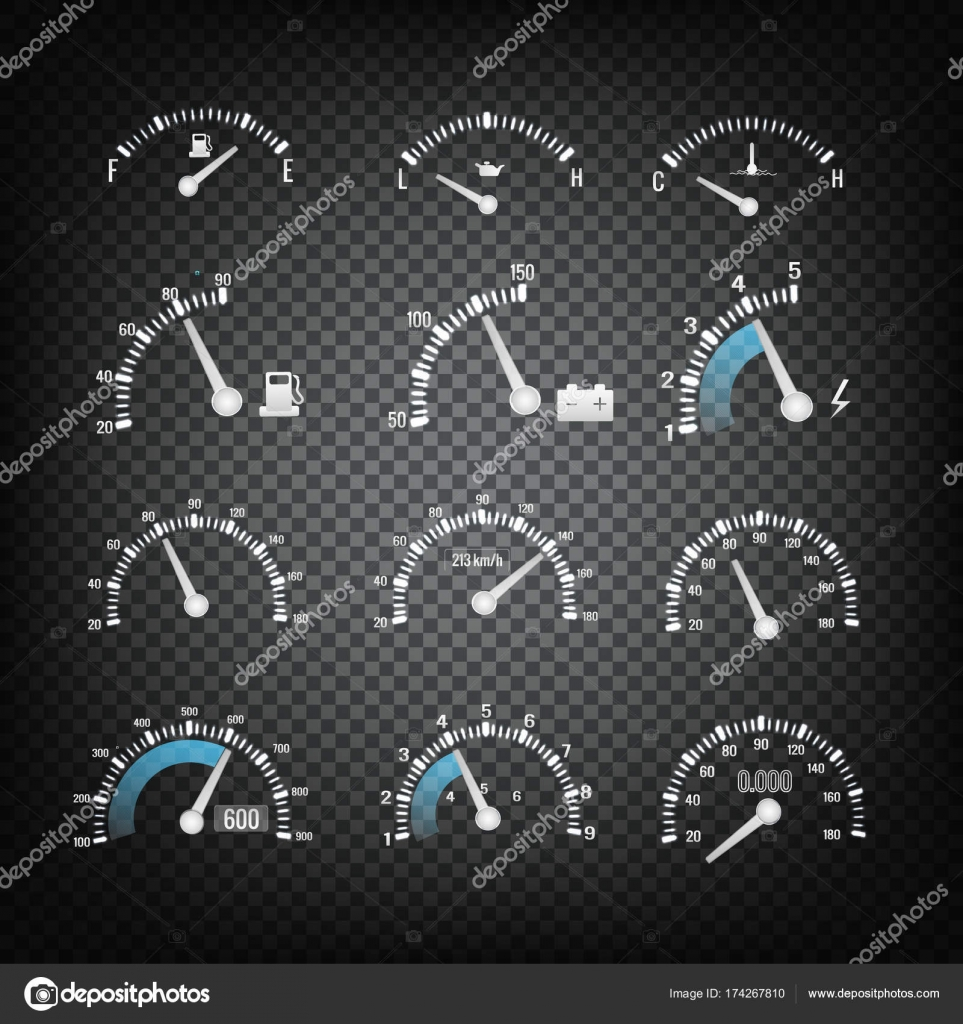 Car Dashboard Control Panel Elements Collection — Stock Vector ...