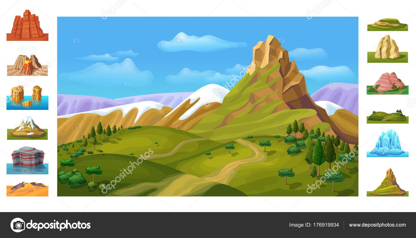 Plantilla de dibujos animados coloridos naturaleza paisaje — Vector ...