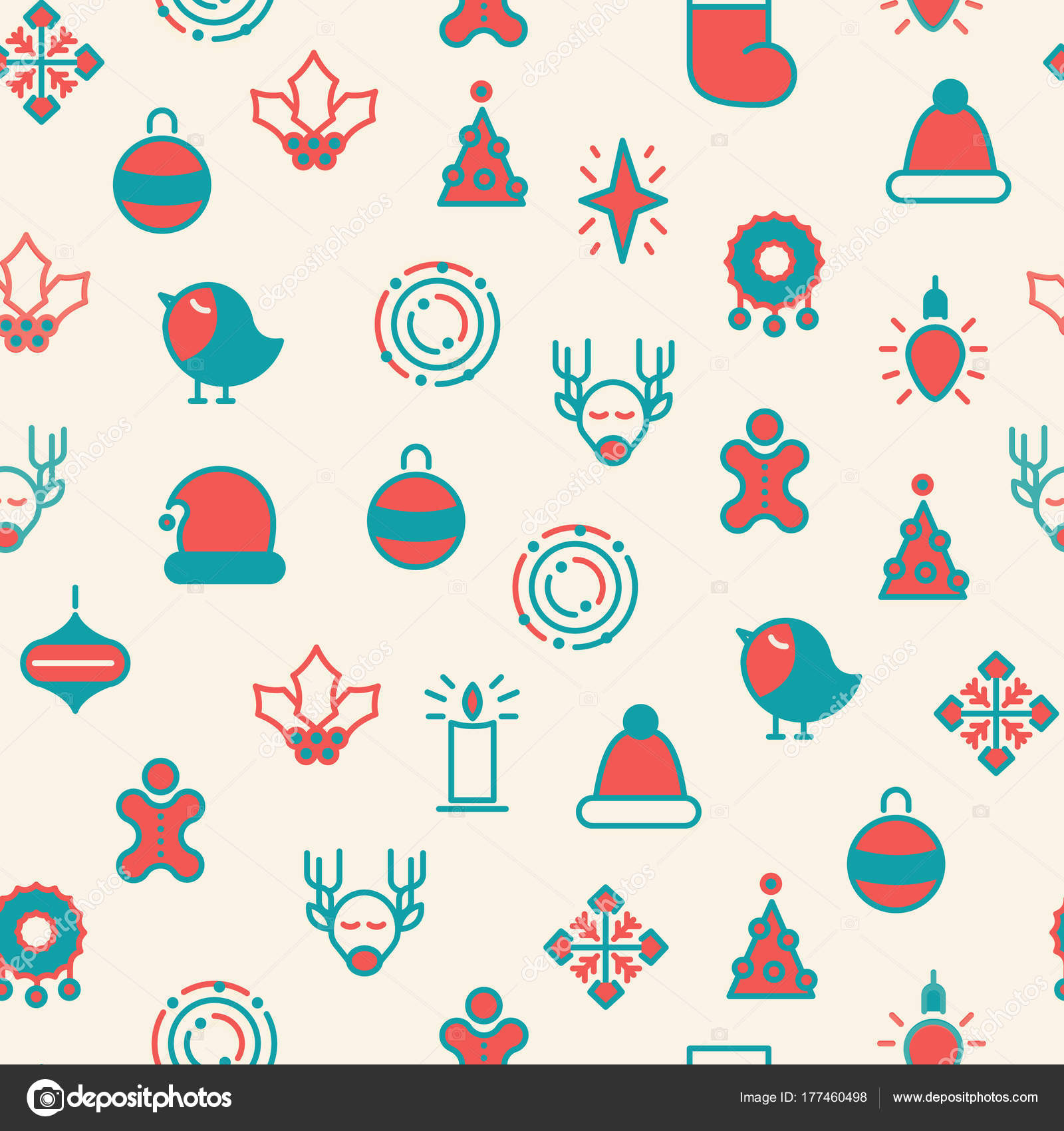 Merry Christmas Symbols Seamless Pattern Stock Vector Mogil