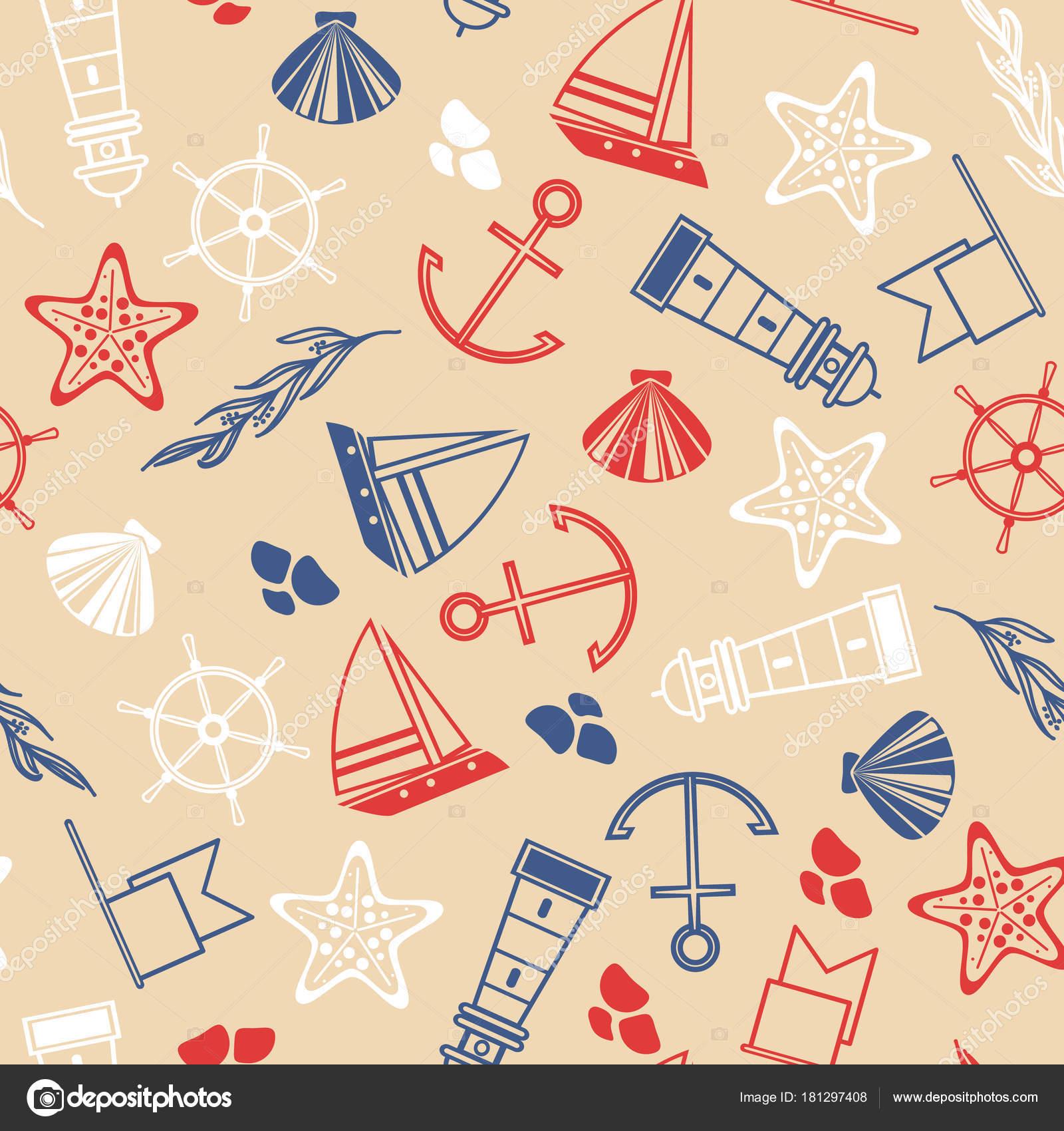 Maritime handgezeichnete nahtlose Muster — Stockvektor © Mogil ...